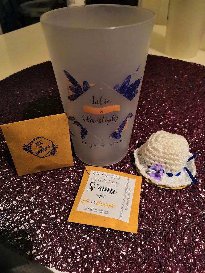 Idée pour mes cadeaux d'invités au mariage : des gobelets personnalisés !!