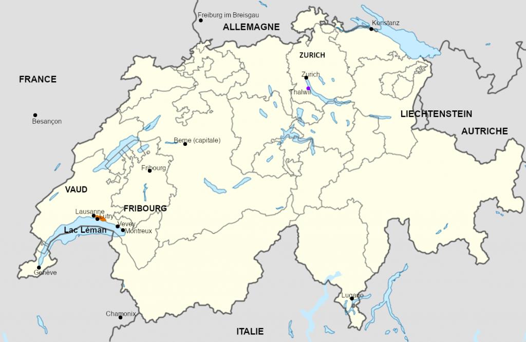 Carte de Suisse avec repères pour Melle Rationnelle