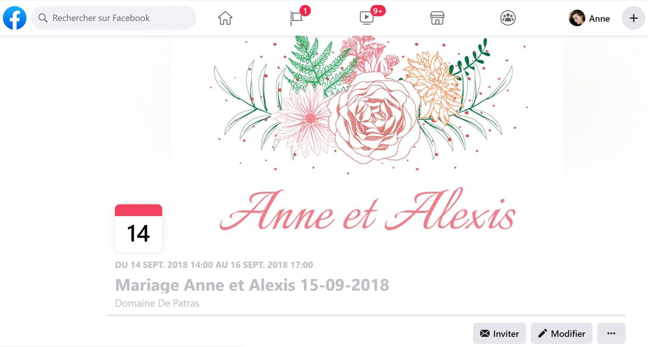 Un site Internet et un événement Facebook pour notre mariage !
