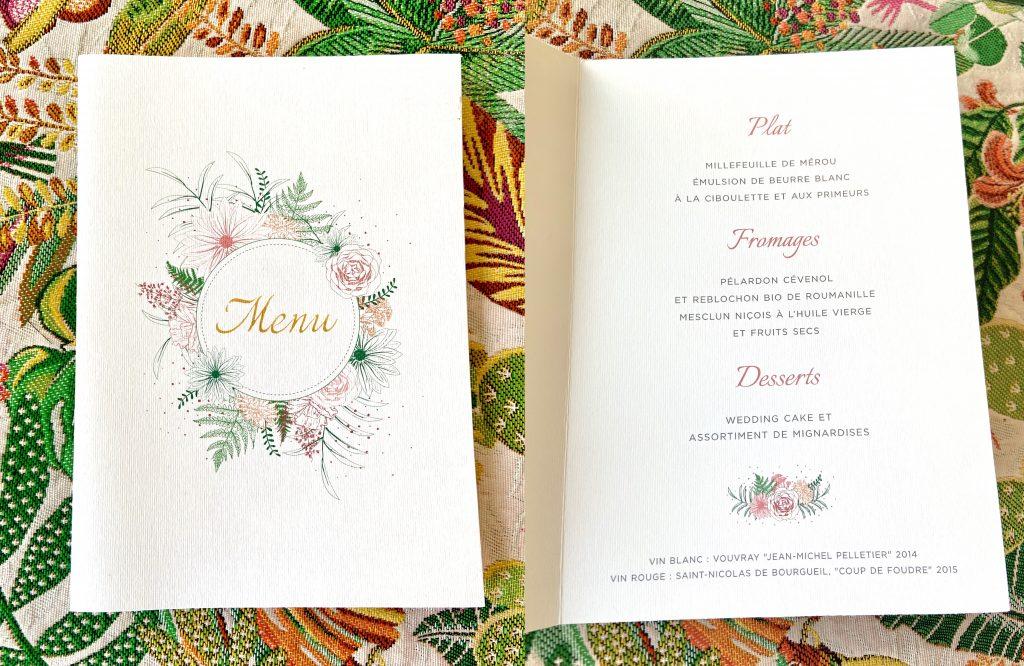 Une décoration tropique - chic pour mon mariage : le menu