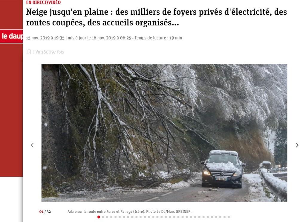 Extrait du Dauphiné Libéré, épisode neigeux en Isère