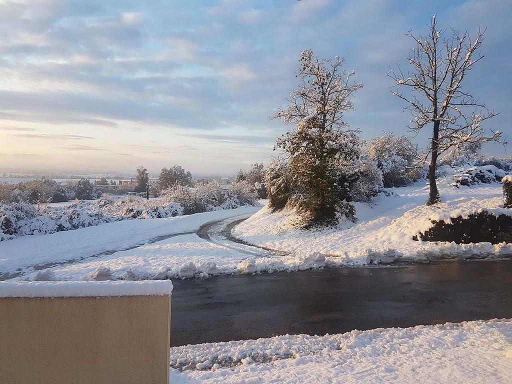 De la neige en Isère pour le jour de l'installation du mariage
