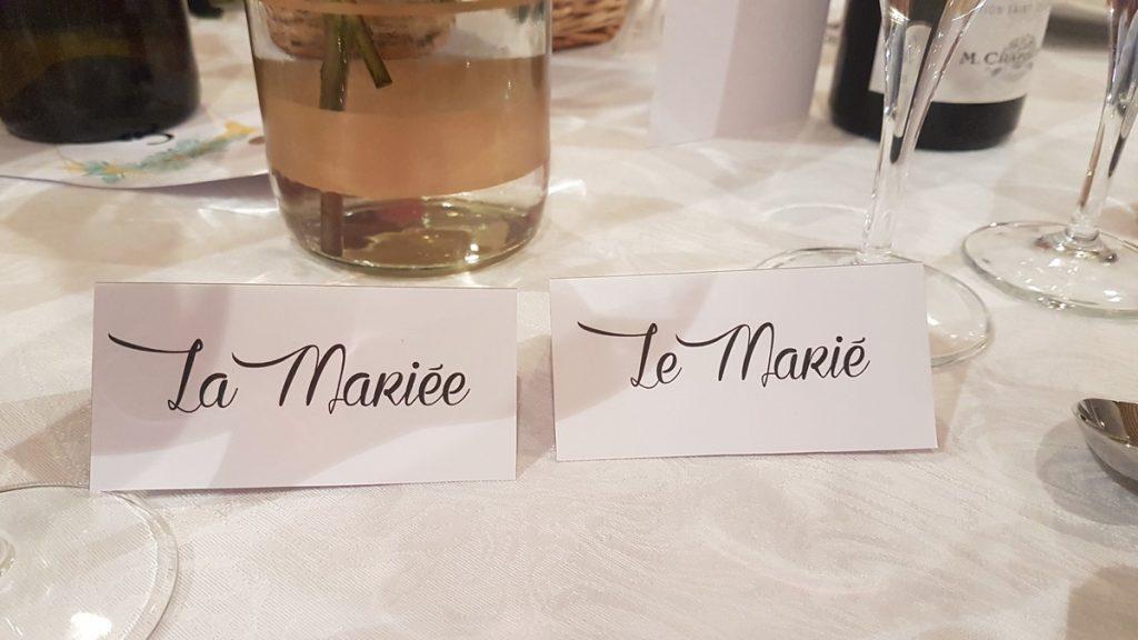 Marques places des mariés