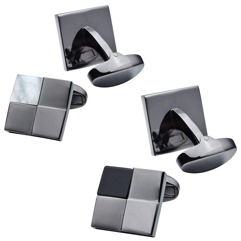 Boutons de manchette carré gris noir